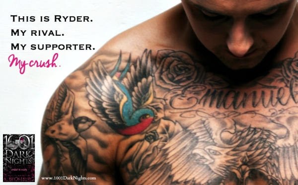 shirtless tattoed man on white looking down